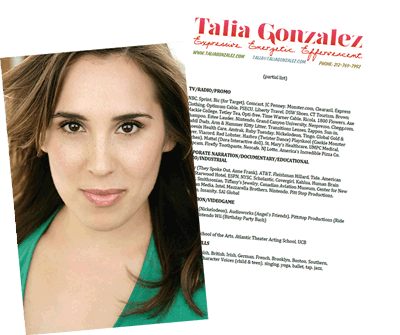 Talia Gonzalez. On-camera and Voice talent.